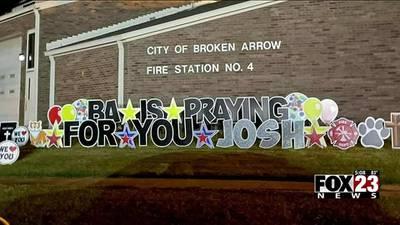 Broken Arrow firefighter battling COVID returns home from hospital, thankful for community support