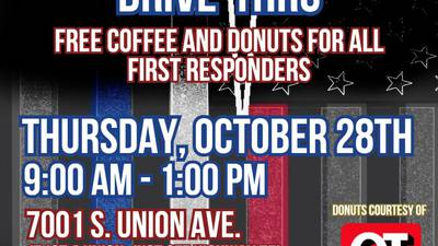 Photos: Students take part in National First Responders Day, gives free coffee away