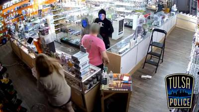 Video shows violent robbery at east Tulsa smoke shop