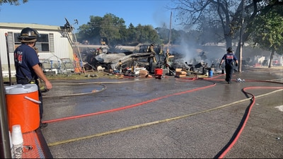 Firefighters respond to fire at trailer park in north Tulsa