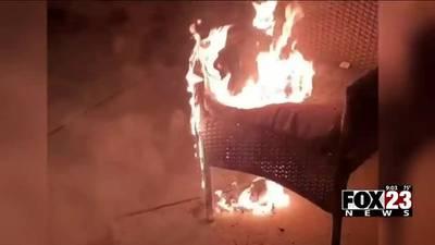 A doorbell camera caught an arson attempt on a Broken Arrow family's front porch